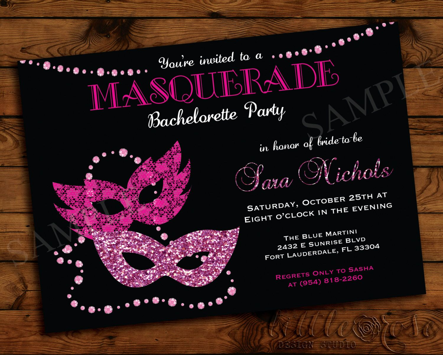 masquerade bachelorette party invitation girls night out invite bridal shower birthday party invite