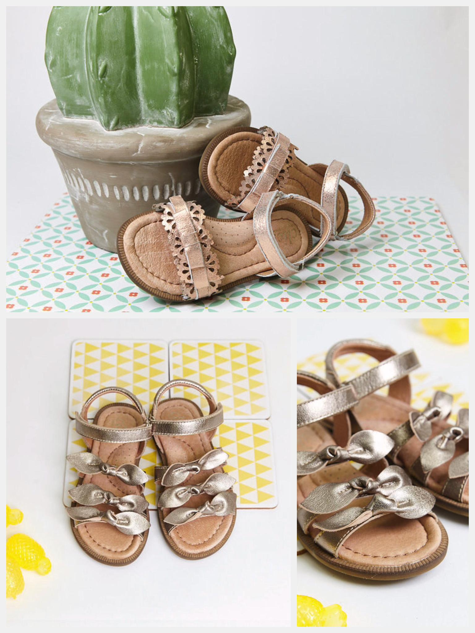 Sandalias para niña con acabado metalizados y colores que