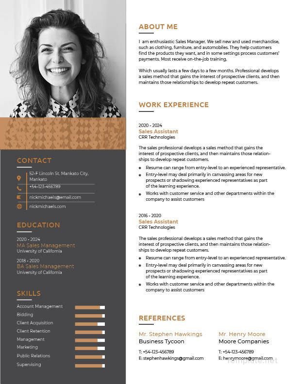 One Page Resume Free Designs Pinterest Template, Photoshop
