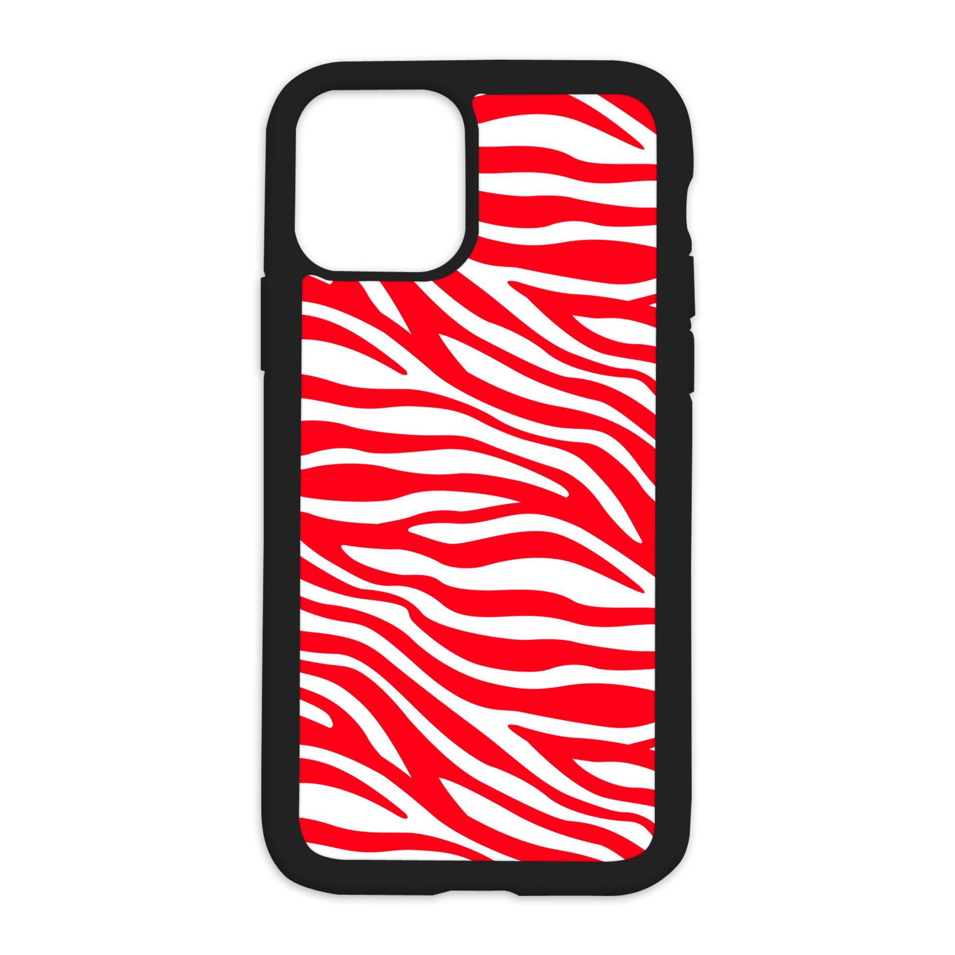 Zebra Print Design On Black Phone Case - 6/6s+ / Red