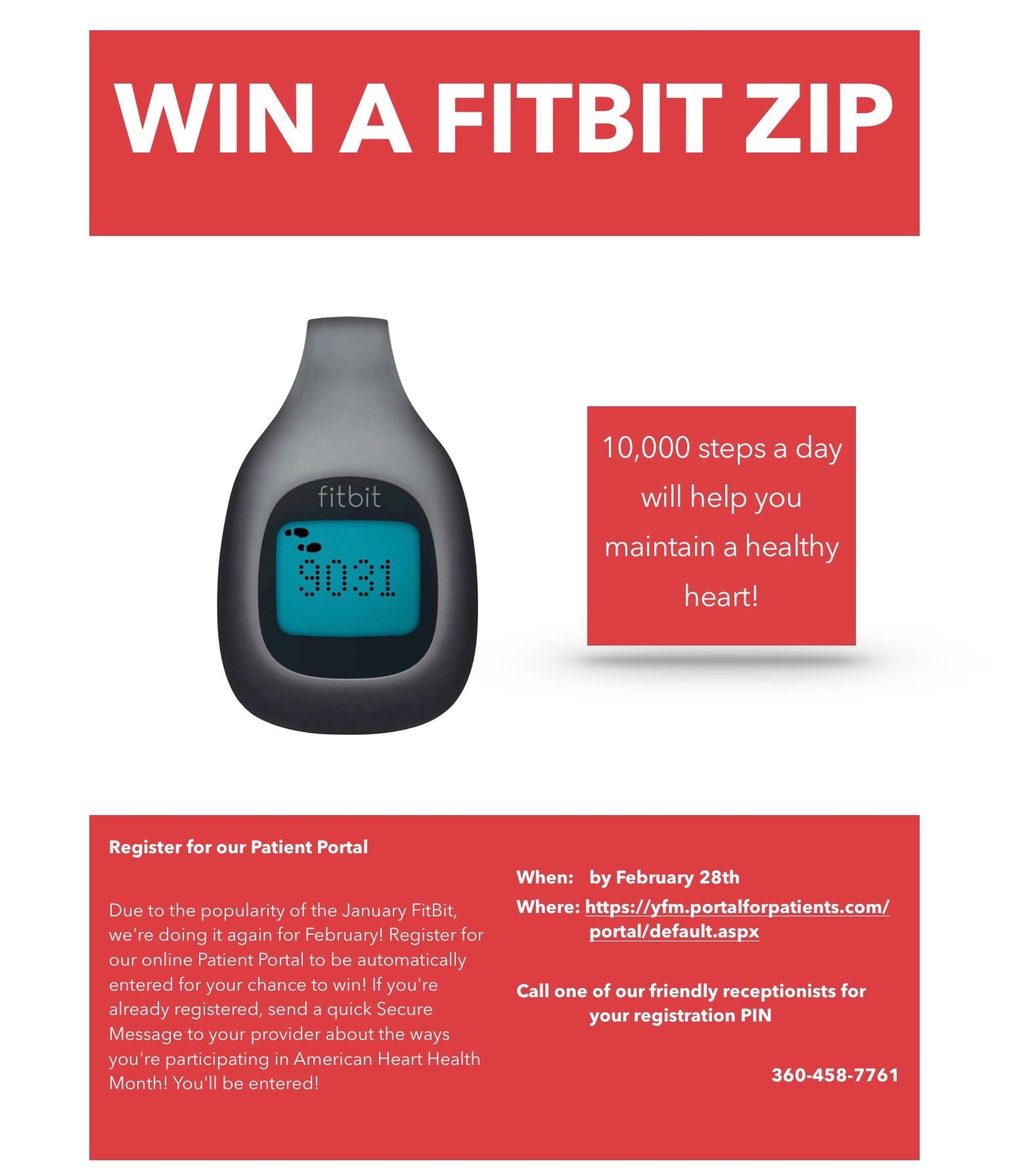 Want to win a FitBit? Sign up or use our online Patient