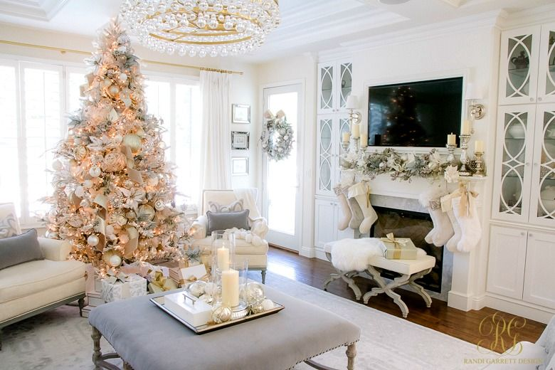 Christmas Home Tour 2017 Silver And Gold Christmas Randi Garrett Design Christmas Decorations For The Home Christmas Home Family Room Design