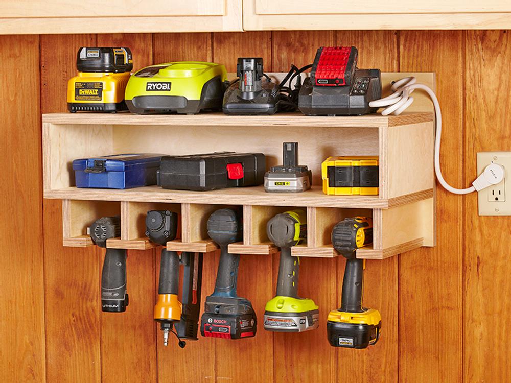 Cordless Tool Station Woodworking Plan From Wood Magazine Diy Garage Storage Woodworking Plan Diy Garage