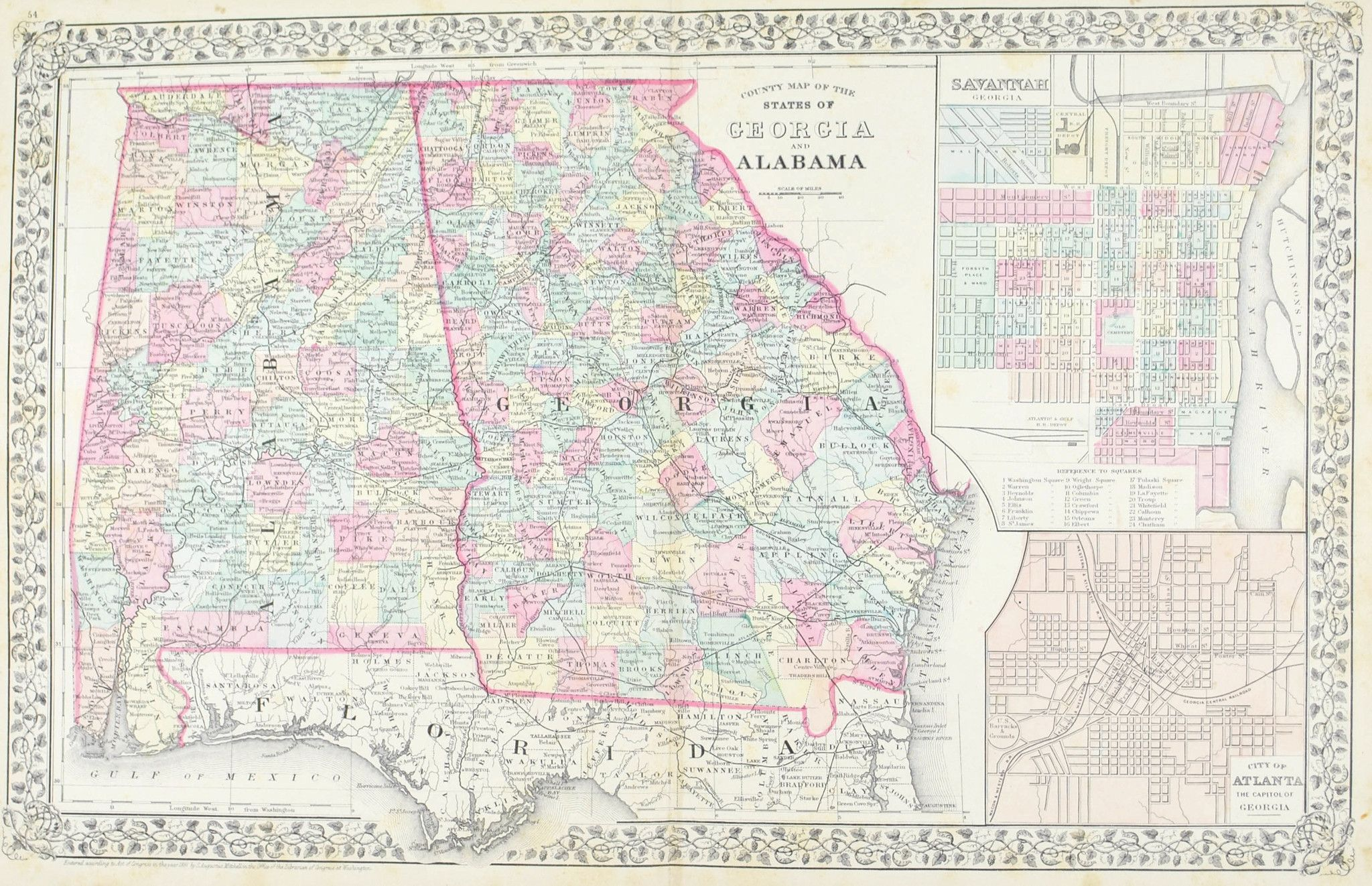 Georgia Alabama Antique Mitchell Map 1881 Products