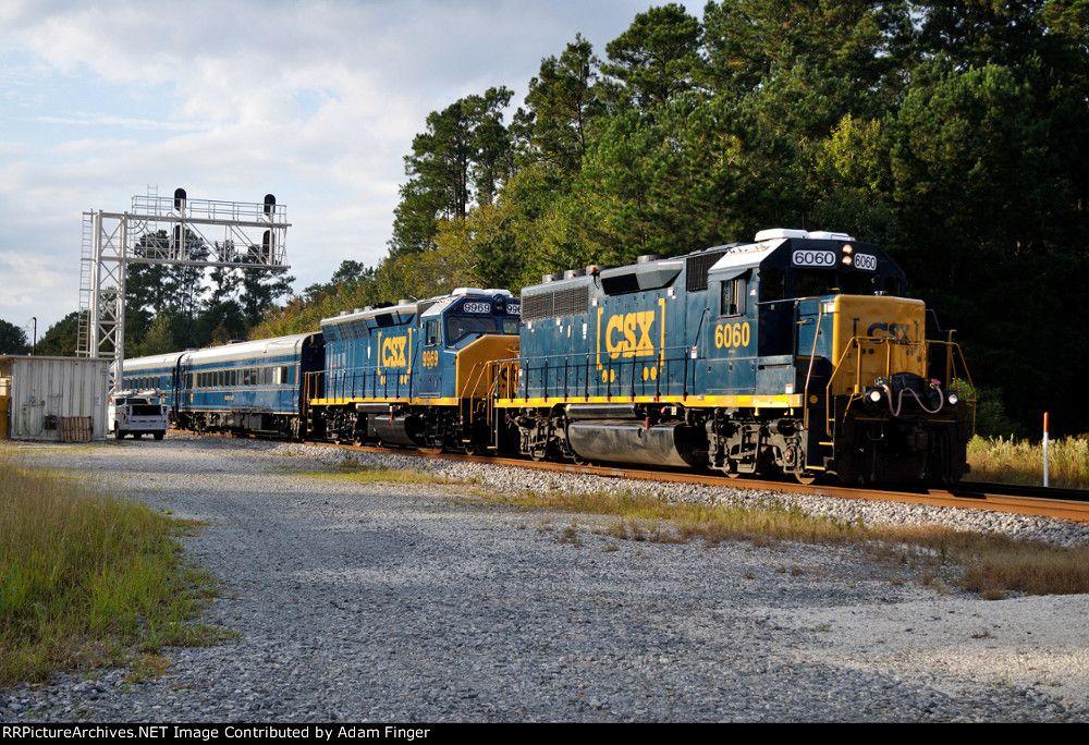 CSX 6060 on CSX Geometry Train. Date: 10/20/2014Location: Callahan, FL  Collection Of:   Adam Finger Locomotives: CSX 6060(GP40-2) CSX 9969(GP40WH-2)   Author:  Adam Finger