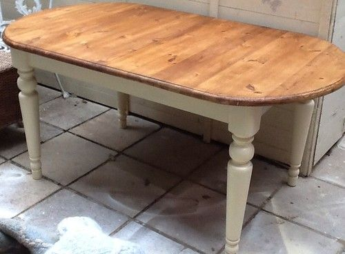 Solid Pine Oval Extending Table Painted In Farrow And Ball Cream