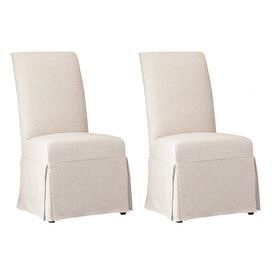 Skirted Parsons dining chair with neutral upholstery.   Product: ChairColor: Jade whiteDimensions: 42.5 H x 26.5 W