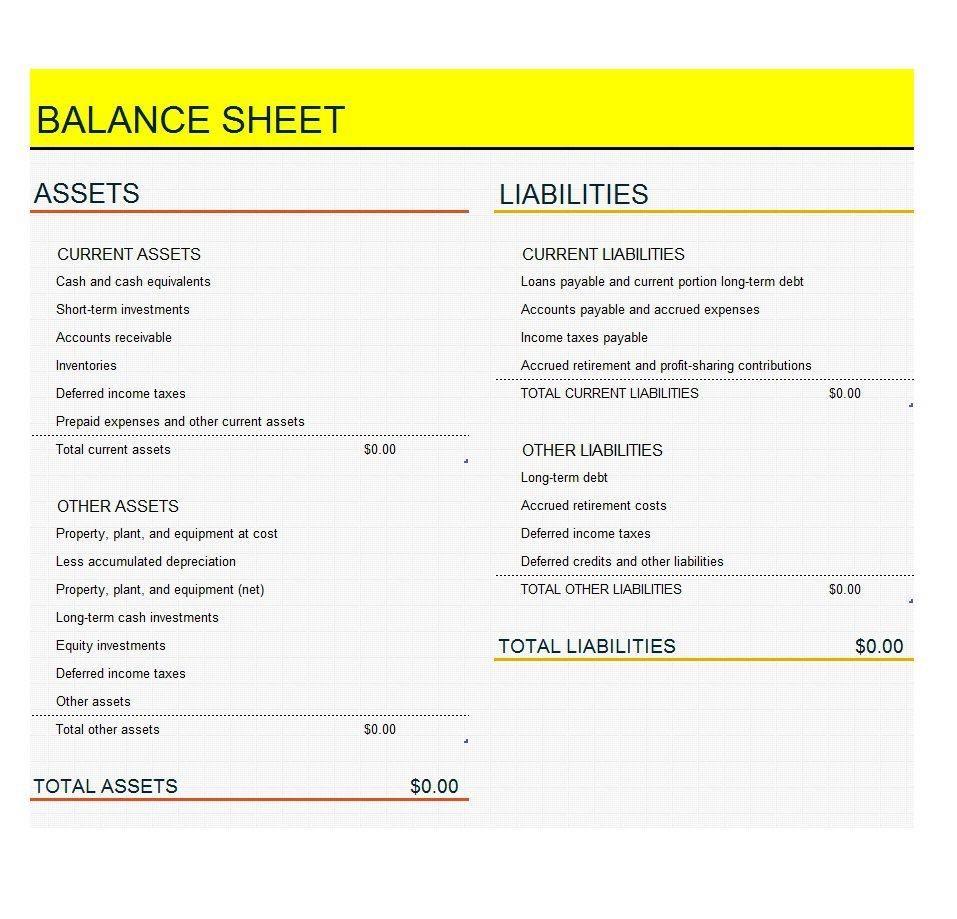 Best 3+ Balance Sheet Template Free | Balance sheet, Balance