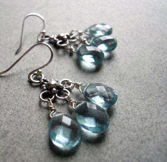 Aqualicious Mini Chandeliers Aqua Quartz by SueanneShirzay on Etsy, $55.00