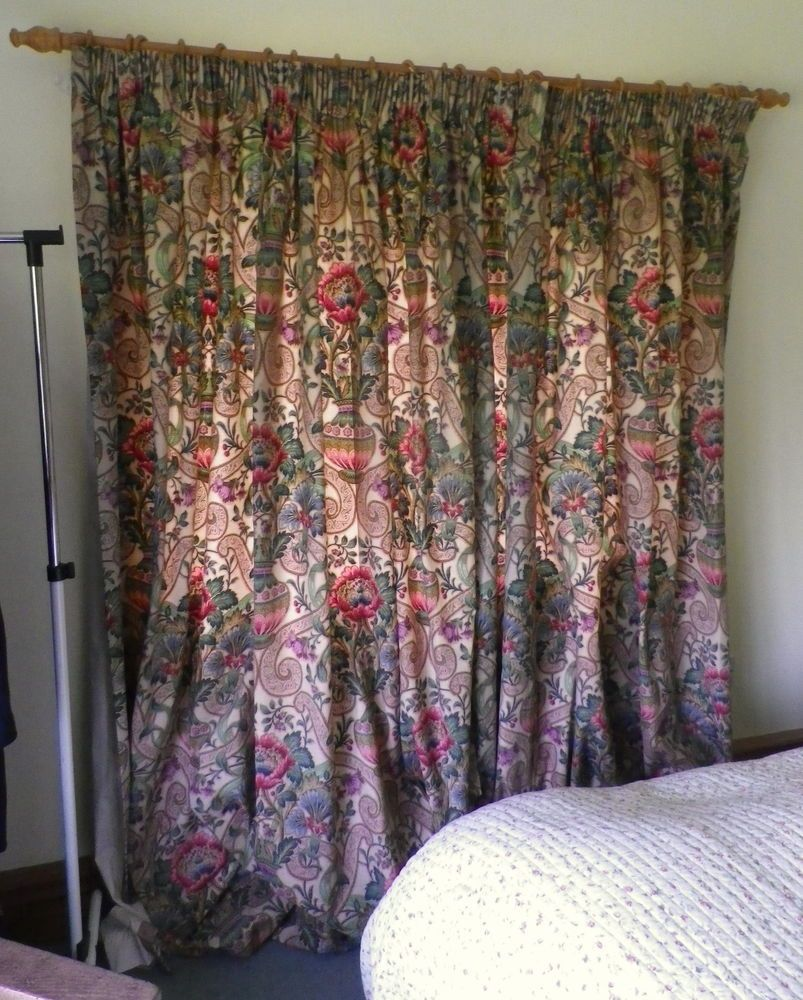 Vintage Sanderson Long Lined Cotton Curtains Cascacs Fabric On Cream In Home Furniture