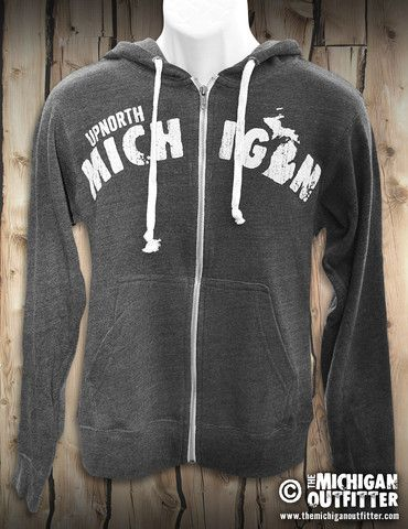 Upnorth Michigan - Zip-Up Hoodie - Heather Charcoal – The Michigan Outfitter | Michigan T-Shirts | Michigan Stickers