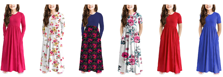 storeofbaby Girls Casual Maxi Floral Dress Long Sleeve Holiday Pockets Dresses for 5-13 Years