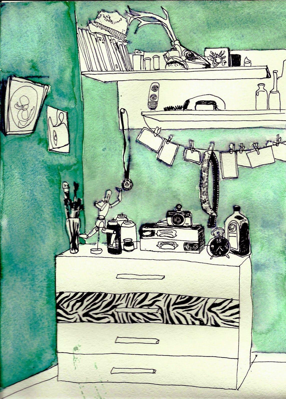 #illustration #room #zebra #print #watercolour