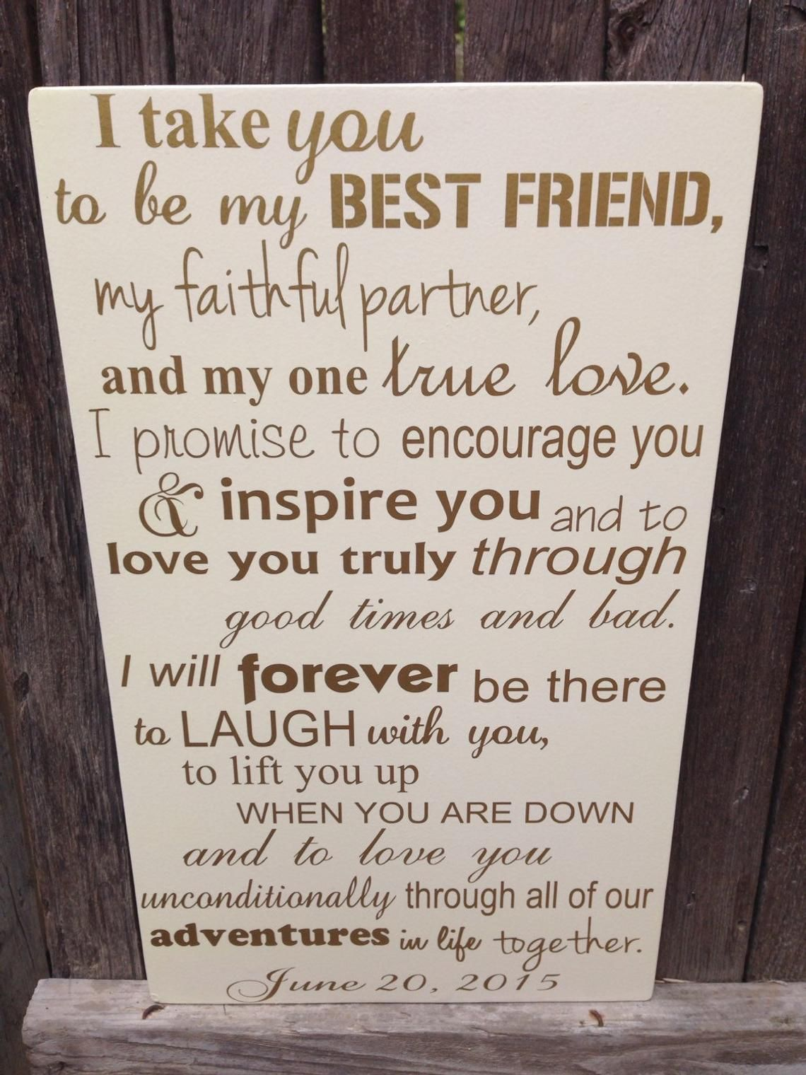 First Anniversary Gift For Him Wedding Vows Sign 1st Anniversary