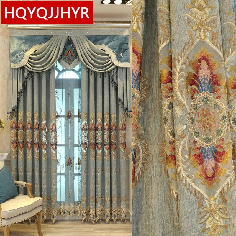 European Top Luxury Embroidery Blackout Curtains With