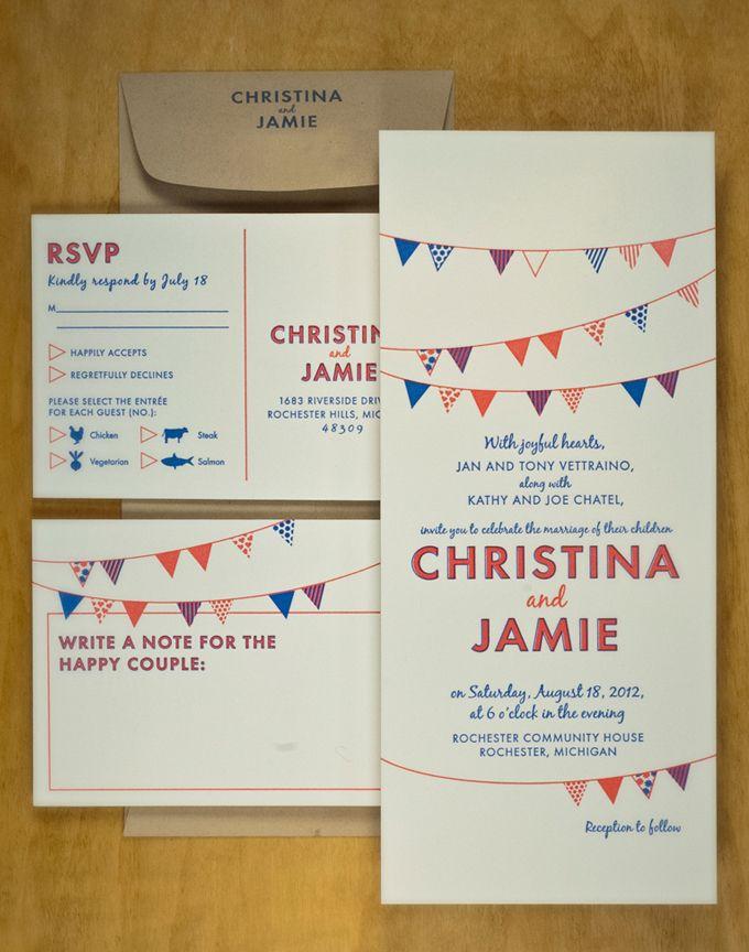 wimpel einladung hochzeit bunting wedding invitation