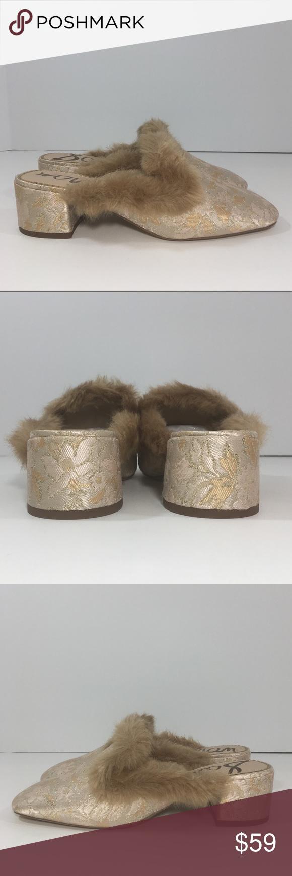 f5c3f17aafd Sam Edelman Adair Faux Fur Block Heel Mules New Sam Edelman Adair Floral Fur -Trimmed