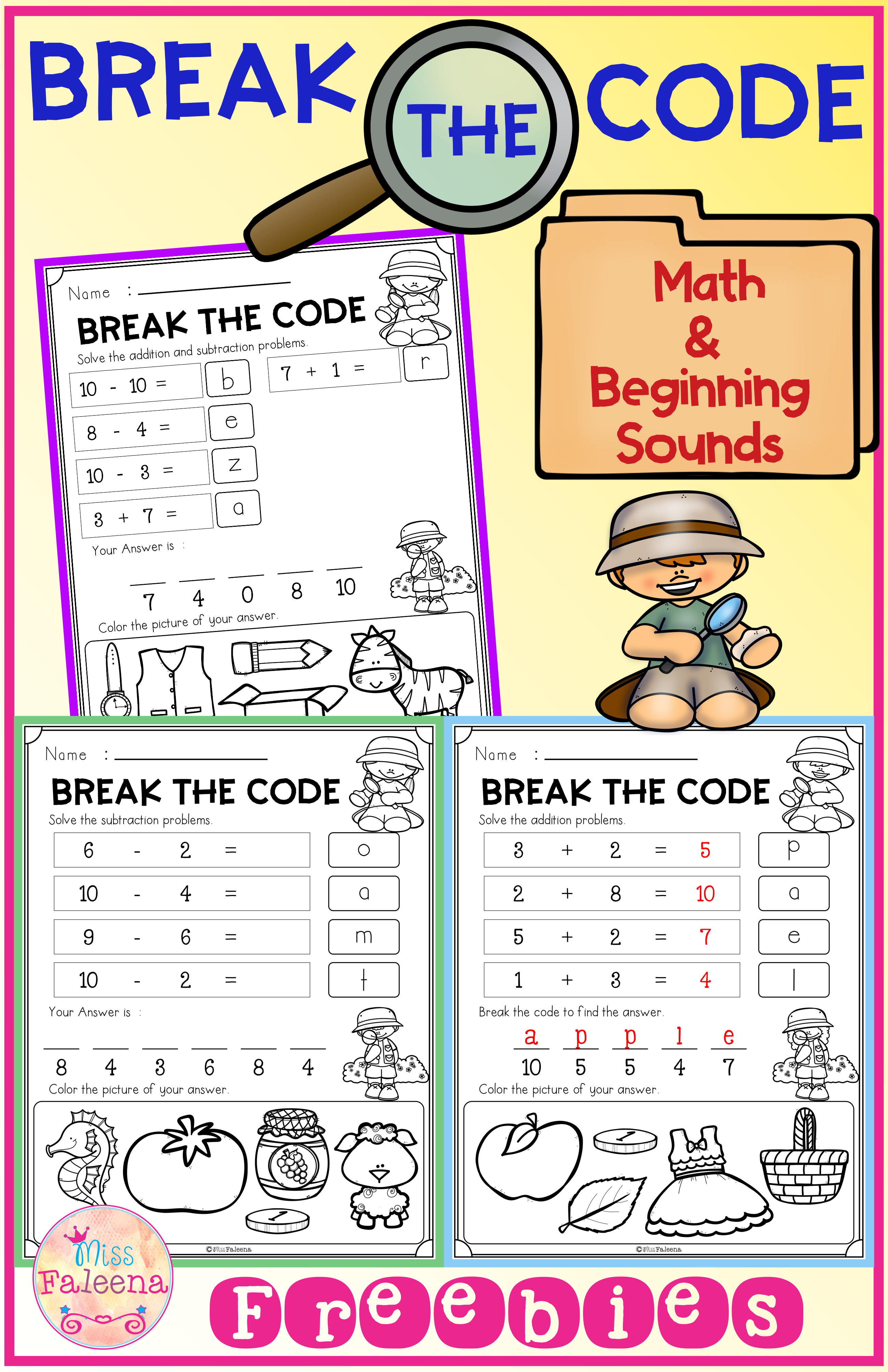 Free Break The Code Math And Beginning Sounds