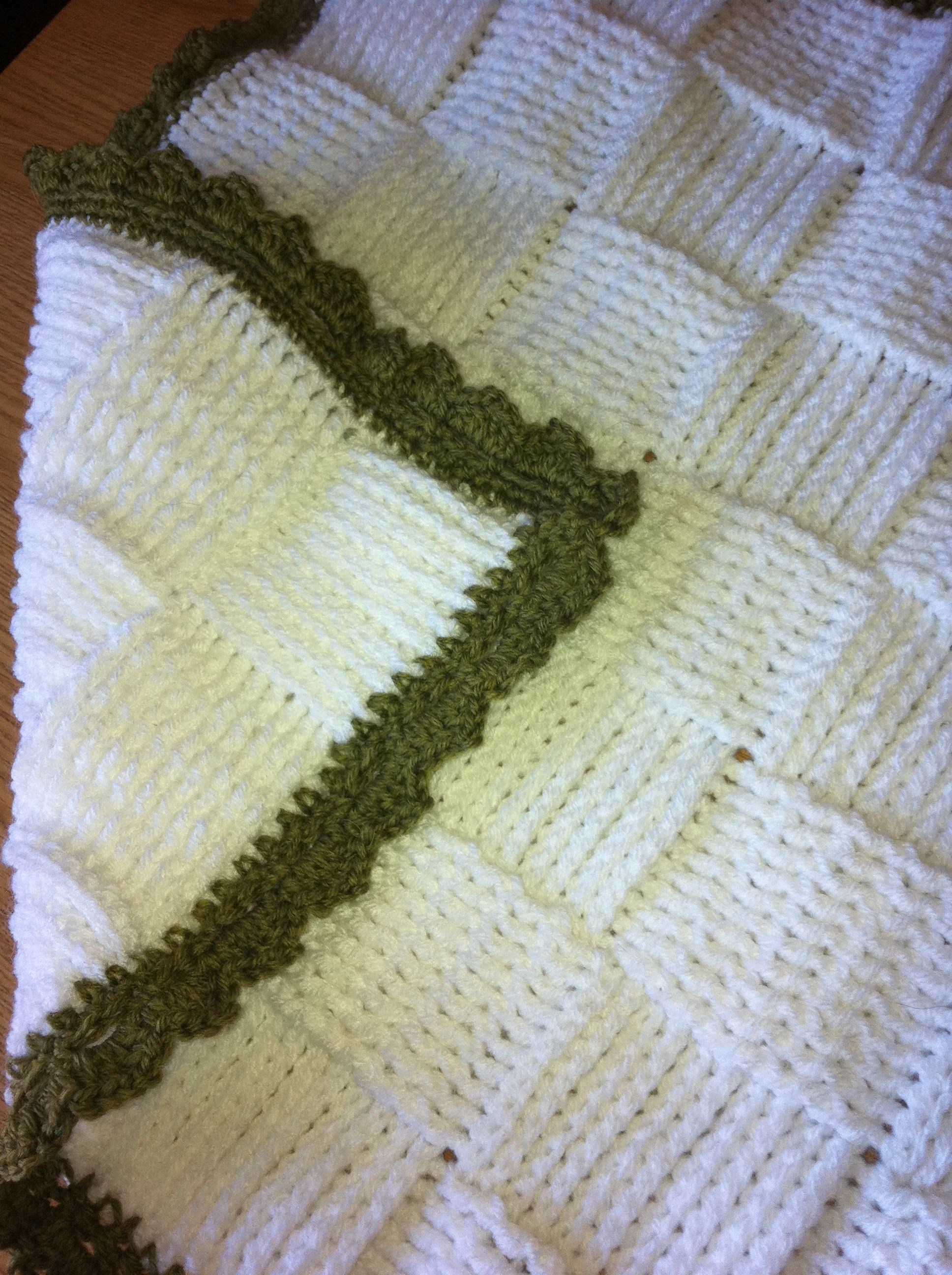 Crocheted Baby Blanket In A Basket Weave Stitch Double