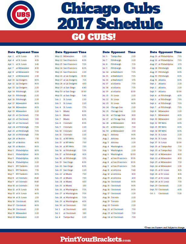 image about Printable Cubs Schedule identified as 2017 Chicago Cubs Timetable Printable MLB Schedules