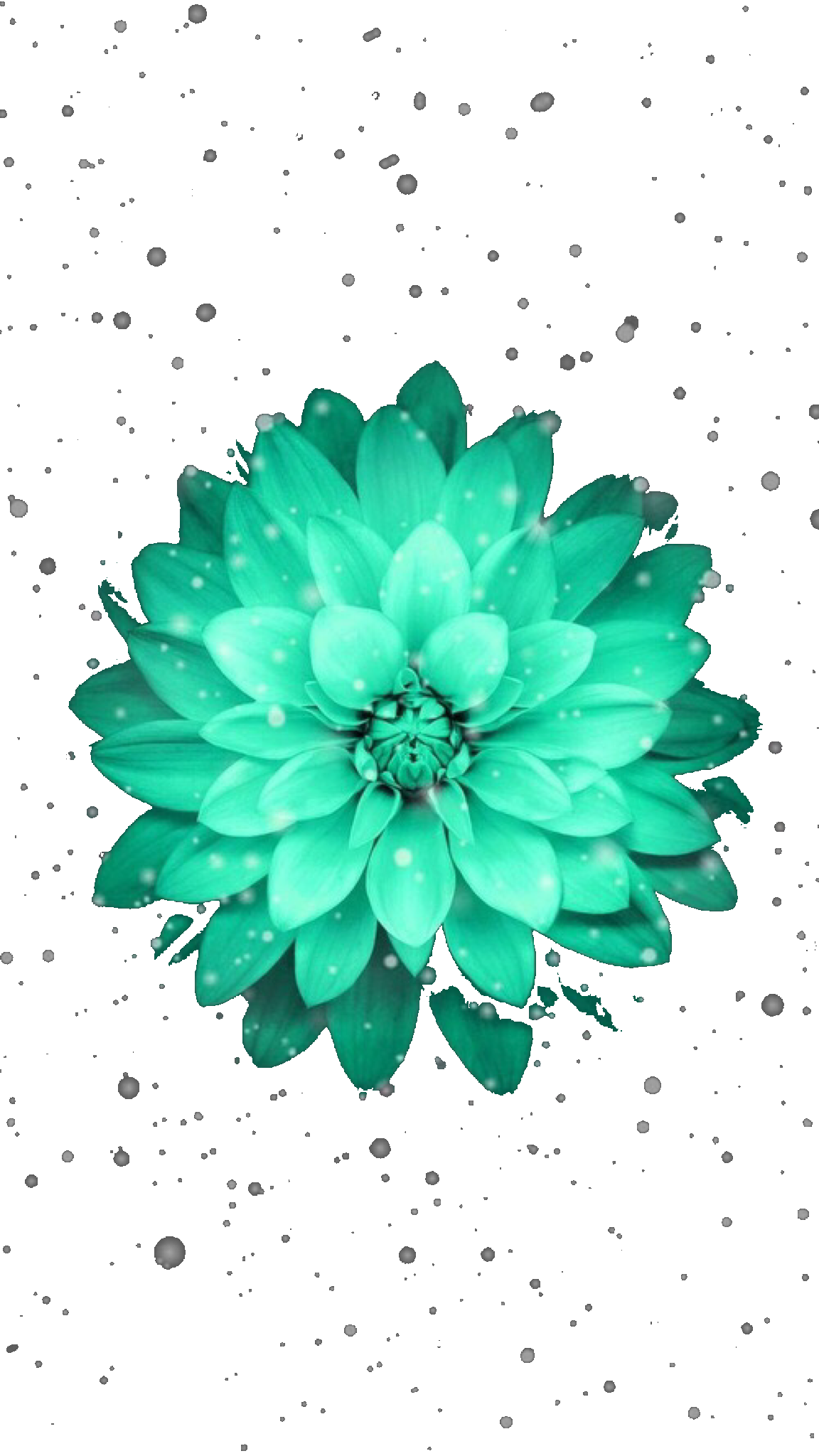 Abstract Teal Flowers Wallpaper