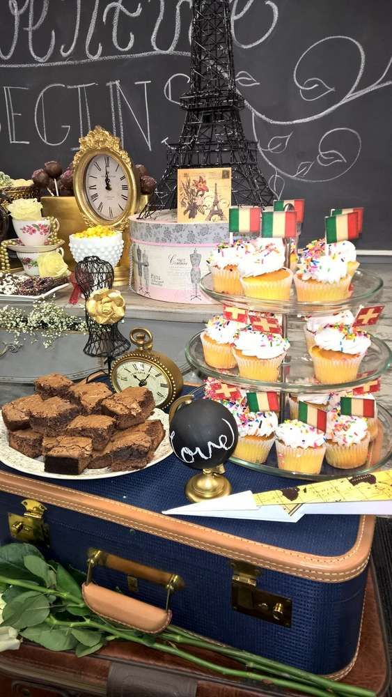 vintage travel themed bridal shower party see more party planning ideas at catchmypartycom