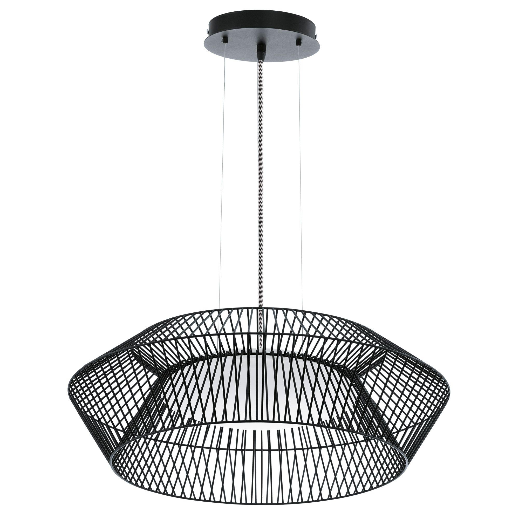 Suspension cylindre en fil de métal LED diamètre 58cm Piastre