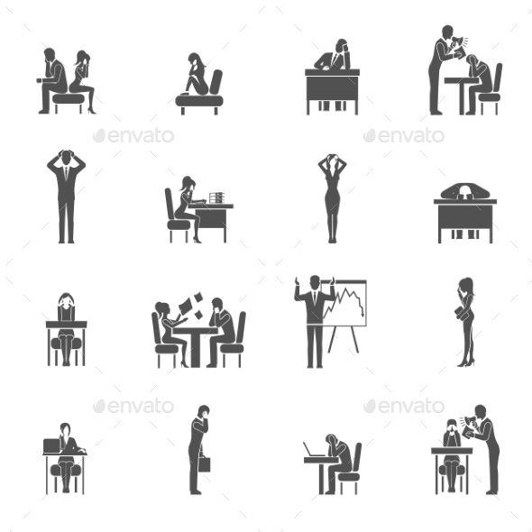 Depression Icon Set - People Characters