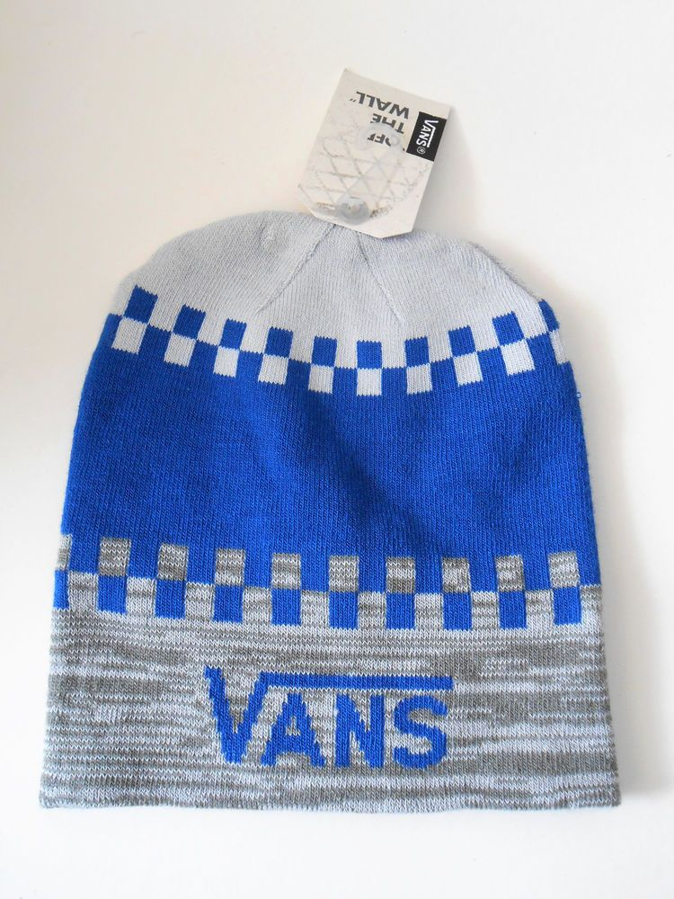 33d563ca16 Vans Off The Wall Winter Beanie Reversible Knit Hat Gray   Blue  VANS   Beanie