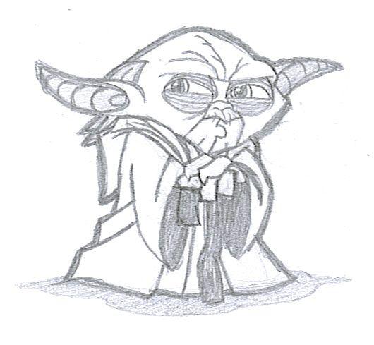 Cool Simple Yoda Drawing Sketch Coloring Page Yoda Drawing