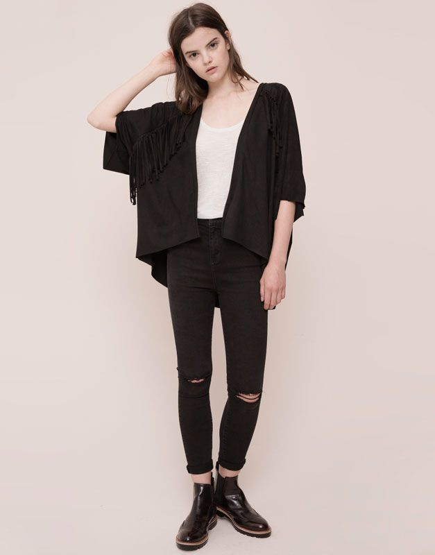 pull bear woman jackets faux suede jacket with. Black Bedroom Furniture Sets. Home Design Ideas