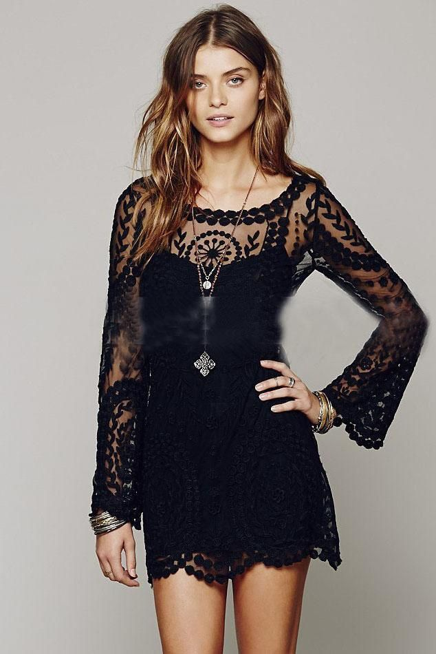 1b310056b487e Lace Long Trumpet Sleeves Transparent Short Dress | Party Dress in ...