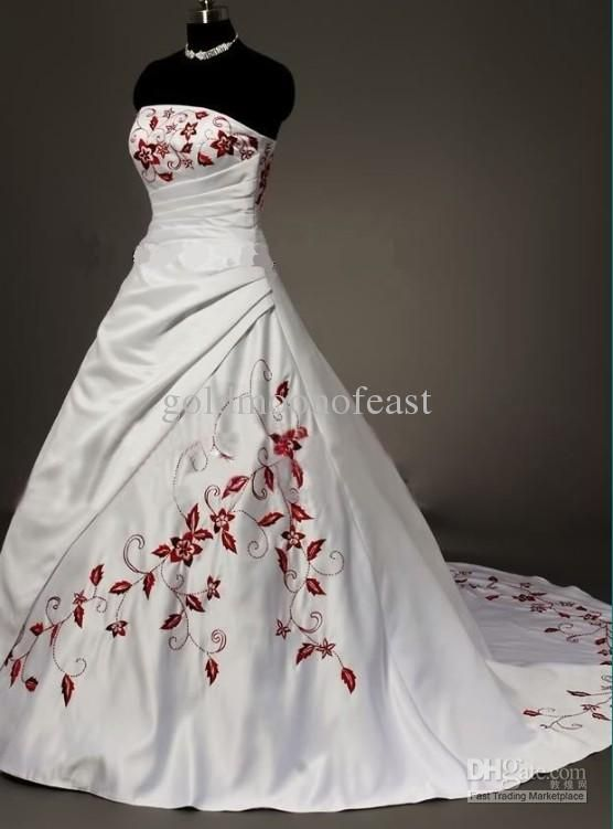 Vintage White Strapless Satin With Dark Red Embroidery Wedding ...