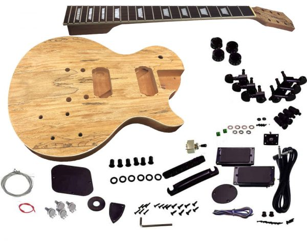 Solo Lp And Unfinished Style Diy Guitar Kit Mahogany Body Spalted Maple Top Solo Music Gear Guitar Kits Guitar Electric Guitar Kits