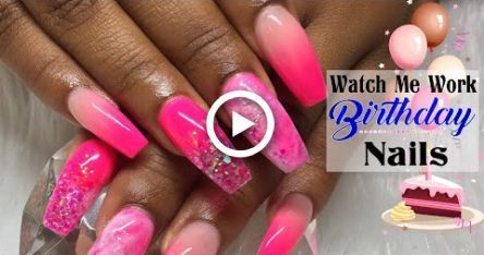 Acrylic Nails| Neon Pink Ombre and Acrylic Marble Nail Art Tutorial -  #acrylic #Art #marble ... #koreannailart Acrylic Nails| Neon Pink Ombre and Acrylic Marble Nail Art Tutorial #koreannailart