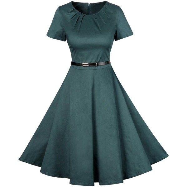 Vintage Short Sleeve Skater Dress ($21) ❤ liked on Polyvore featuring dresses