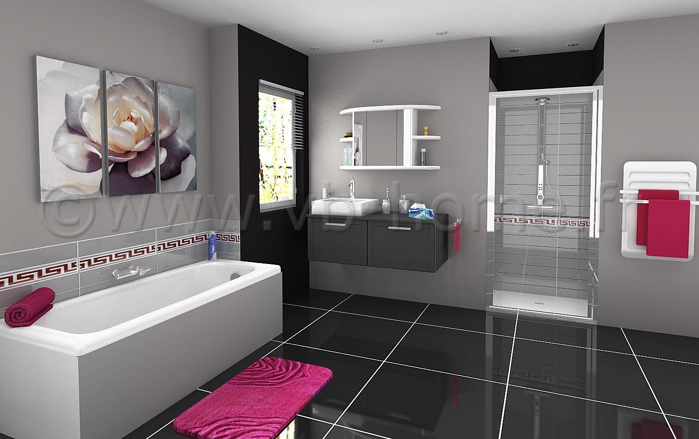 Salle de bain féminine ornée de gris et de rose ...