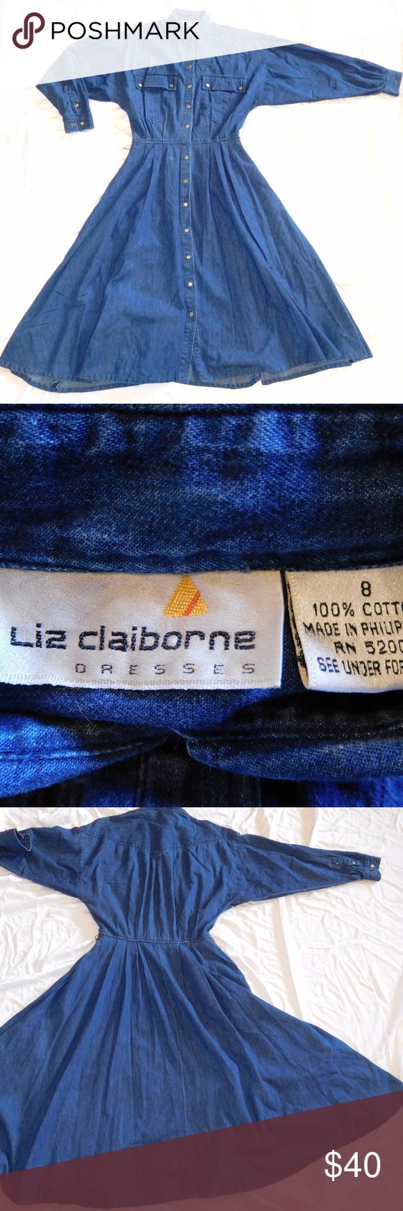 Vintage s denim maxi jean dress duster jacket liz claiborne