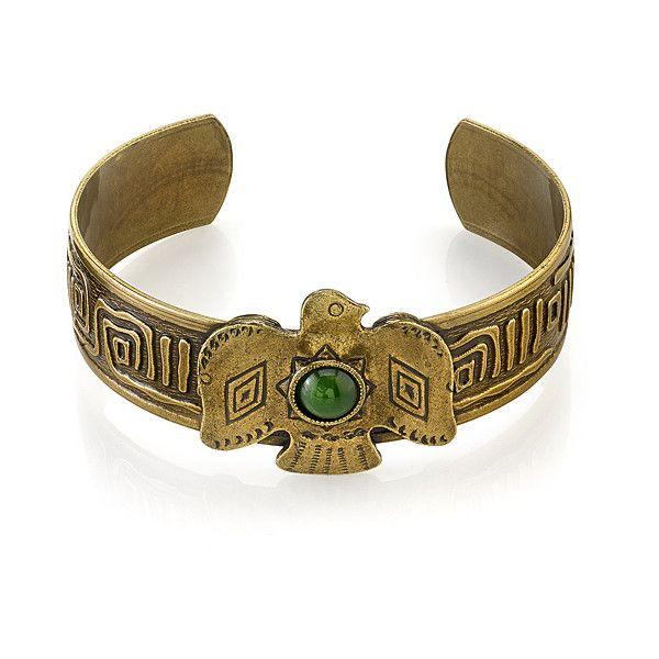 1928 T.R.U. Soaring Eagle Burnished Brass & Jade Green Cuff Bracelet ($28) ❤ liked on Polyvore