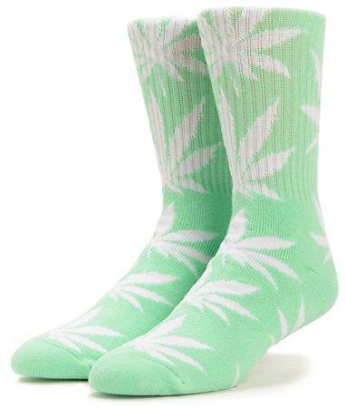 Cotton Blend Cannabis Marijuana Over The Knee Socks With Stripe Top