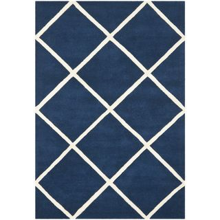 Safavieh Handmade Moroccan Chatham Squares-pattern Dark Blue Wool Rug (6' x 9')