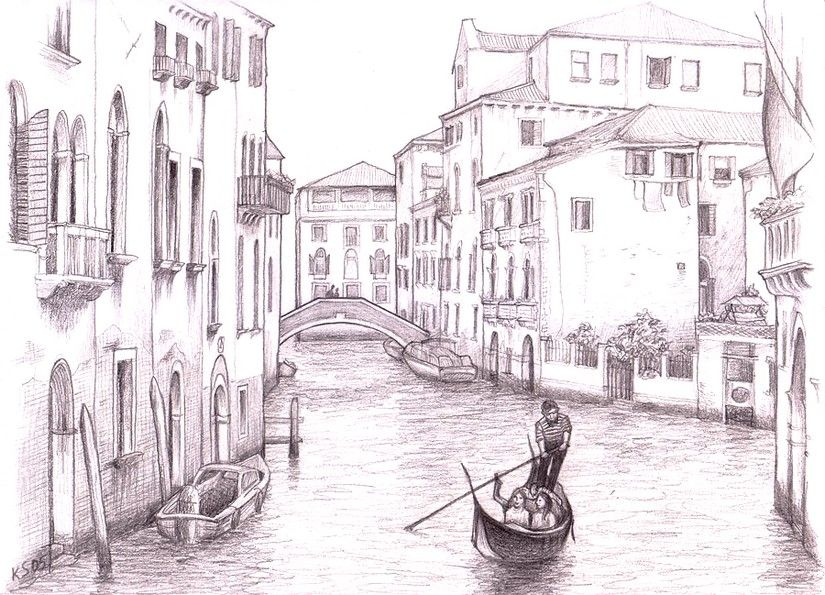 venice painting italy sketches color pencil drawing