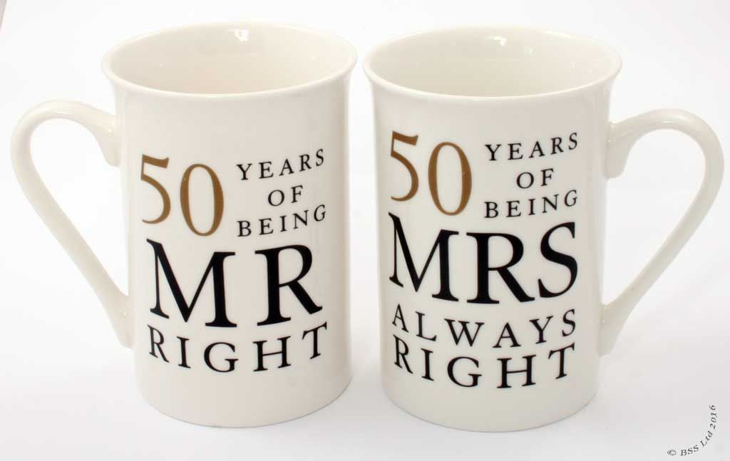 50th Anniversary Gift Set Two China Mugs Mr Right and Mrs Always Right ~