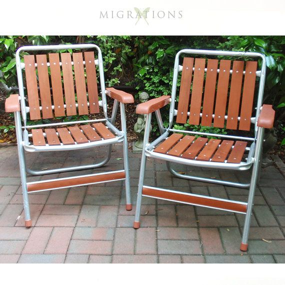 Vintage Aluminum And Redwood Folding Lawn Chairs By Sun Terrace