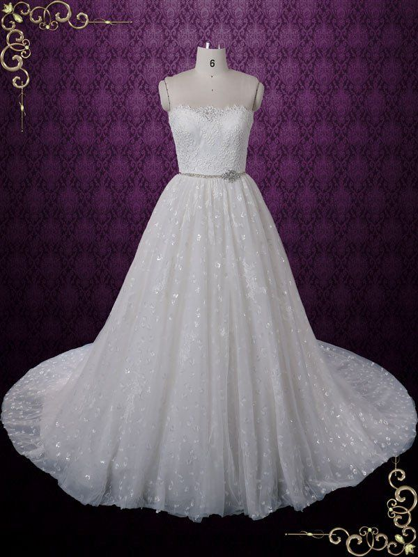 Strapless Princess Style Lace Ball Gown Wedding Dress | Claret ...