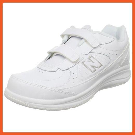WW577 Walking Velcro Shoe,White,9.5 B