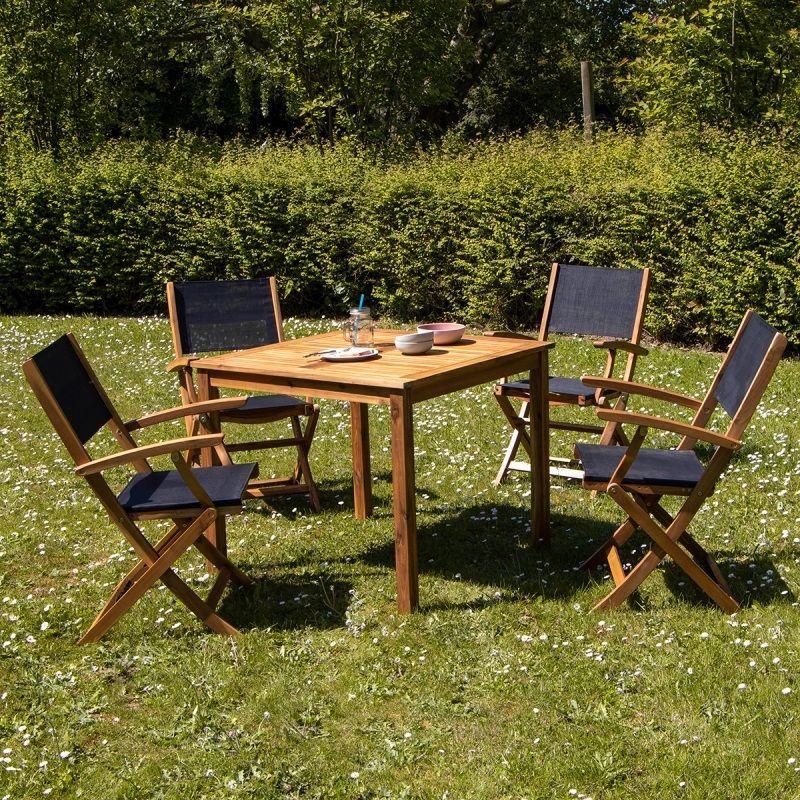 Salon de jardin carré 4 places HANOÏ en bois d\'acacia FSC ...