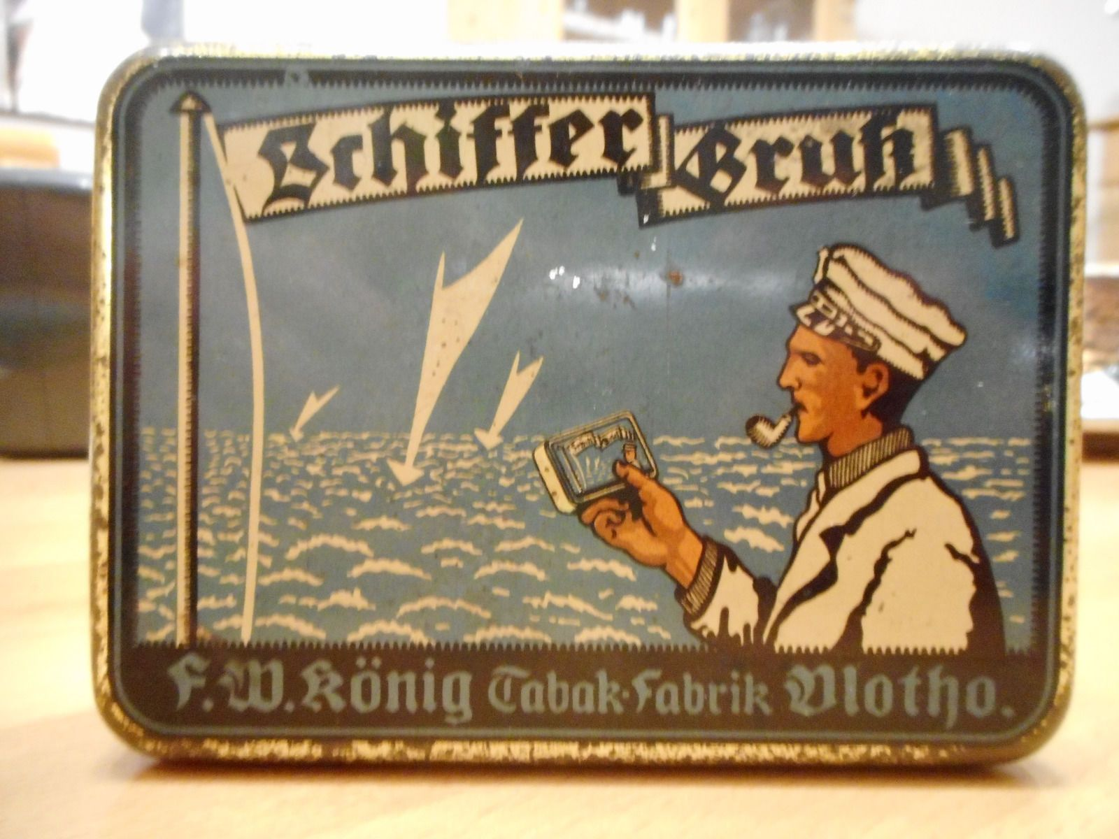 Retro Tabak Keukens : Old german tobacco tin mit maritime look from f.w. könig tabak