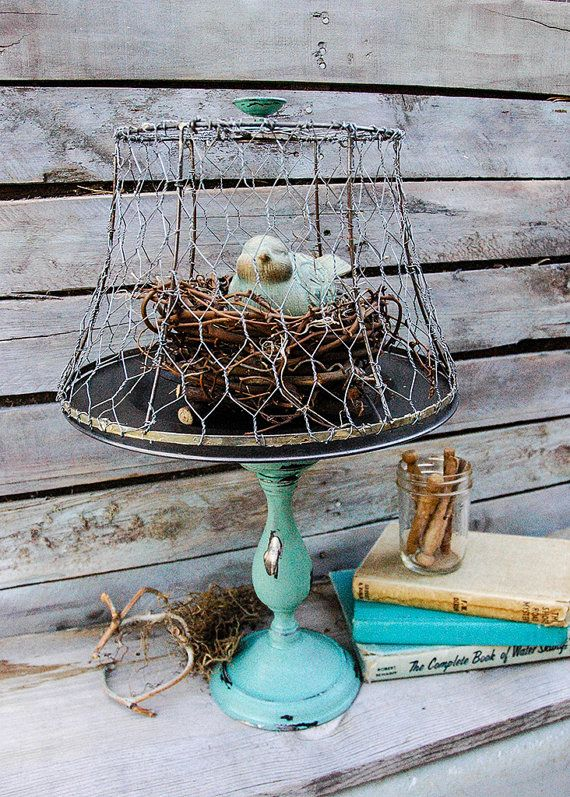 Shabby chic farmhouse decor bird chicken wire by marieandlee diy items similar to shabby chic farmhouse decor bird chicken wire lampshade cloche on etsy greentooth Images