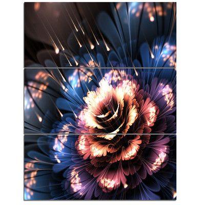 DesignArt Fractal Flower Orange and Blue - 3 Piece Graphic Art on Wrapped Canvas Set